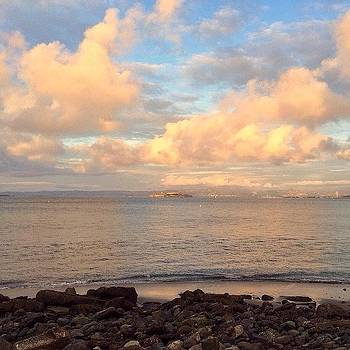 Alcatraz Island Under The Clouds by Karen Winokan