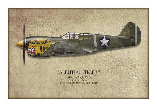Aleutian Tiger P-40 Warhawk - Map Background by Craig Tinder