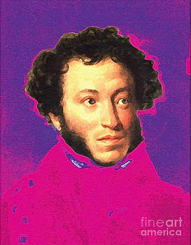 Alexander Pushkin pop art portrait by Theodora Brown