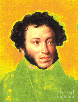 Alexander Pushkin pop art style by Theodora Brown
