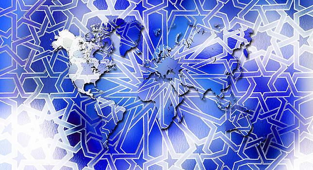 Hakon Soreide - Alhambra World Map Blue