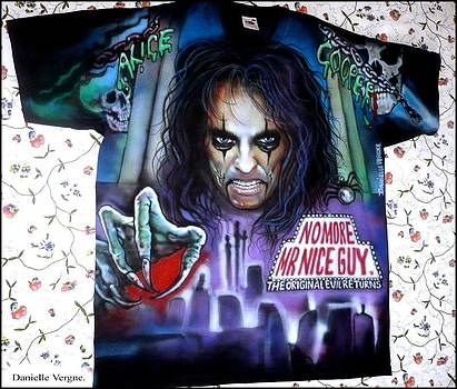Alice Cooper airbrushed tshirt No more mr Nice guy by Danielle Vergne by Danielle Vergne