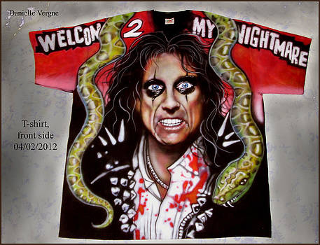 Alice Cooper W2MN airbrushed t-shirt by Danielle Vergne