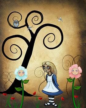 Alice in Wonderland Art - Alice and Flowers by Charlene Zatloukal