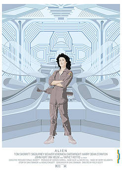 Alien 1979 Movie Poster - feat. Ripley by Peter Cassidy