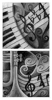 All this Jazz 2 Vertical 3 black and white by Stacy V McClain
