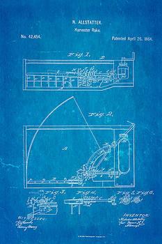 Ian Monk - Allstatter Harvester Rake Patent Art 1864 Blueprint