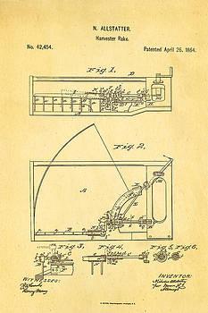 Ian Monk - Allstatter Harvester Rake Patent Art 1864