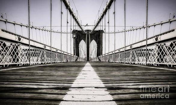 Alone in New York City Brooklyn Bridge by Marshall Bishop