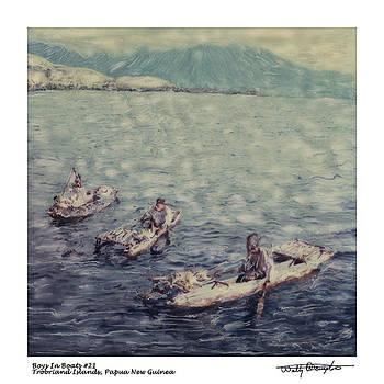 Altered Polaroid - Boys In Boats 21 - Trobriand Islands - Papua New Guinea by Wally Hampton