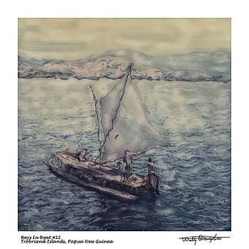 Altered Polaroid - Boys In Boats 22 - Trobriand Islands - Papua New Guinea by Wally Hampton
