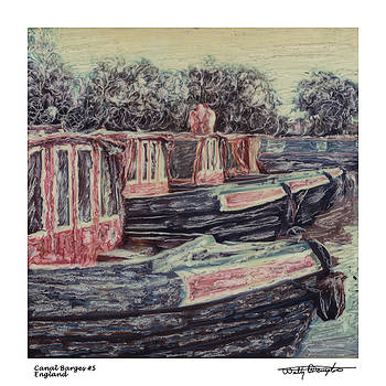 Altered Polaroid - Canal Barges 5 by Wally Hampton