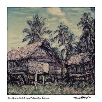 Altered Polaroid - Dwelling 20 - Sepik River - Papua New Guinea by Wally Hampton