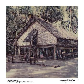 Altered Polaroid - Dwelling 23 - Sepik River - Papua New Guinea by Wally Hampton