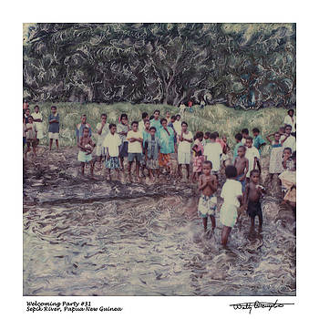 Altered Polaroid - Welcoming Party 31 - Sepik River - Papua New Guinea by Wally Hampton