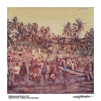 Altered Polaroid - Welcoming Party 32 - Sepik River - Papua New Guinea by Wally Hampton
