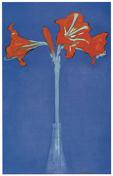 Piet Mondrian - Amaryllis in a Flask in Front of a Blue Background