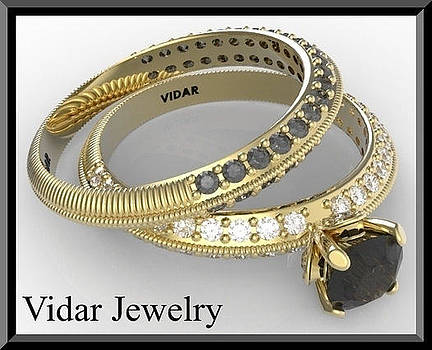 Amazing Black And White Diamonds 14k Yellow Gold Wedding Ring Sets  by Roi Avidar