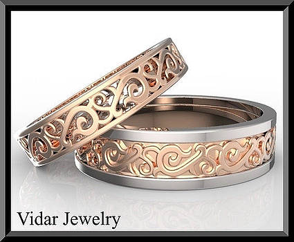 Amazing His and Hers Two Tone Wedding Bands Set by Roi Avidar