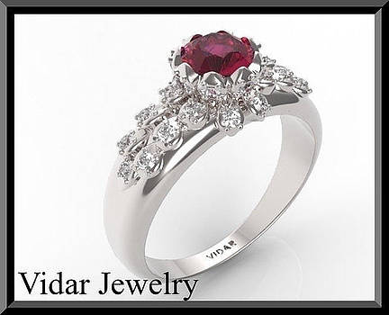 Amazing Red Ruby And Diamond 14k White Gold Engagement Ring by Roi Avidar