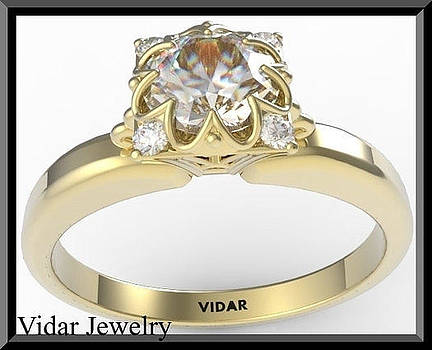 Amazing White Sapphire And Diamond 14k Yellow Gold Engagement Ring by Roi Avidar