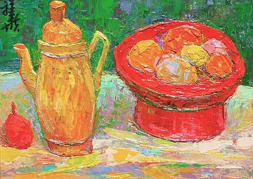 Amber pitcher and red fruit bowl by Siang Hua Wang