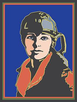 Amelia Earhart Portrait by Linda Ruiz-Lozito