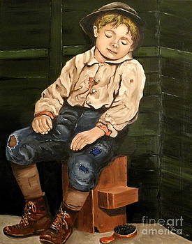 American Depression era shoeshine boy 2 by Robert Arsenault