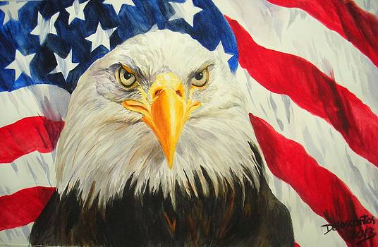 American Eagle And Flag by Kristina Delossantos