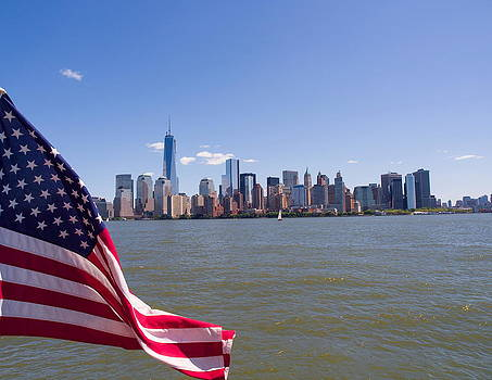 American Flag and Freedom Tower by Luis Lugo