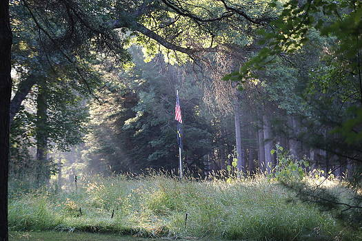 American Flag in the Morning by Lal Rodawla