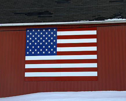 American Flag on Barn by Linda Rae Cuthbertson