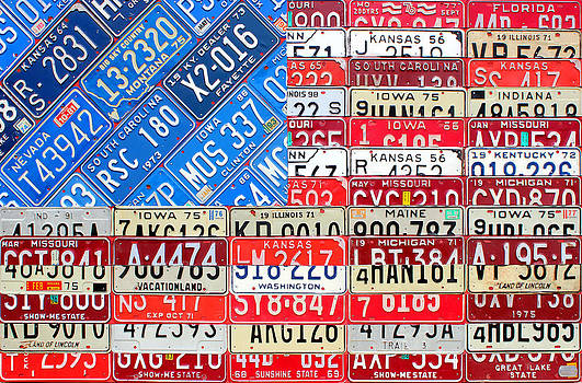 Design Turnpike - American Flag Recycled License Plate Art