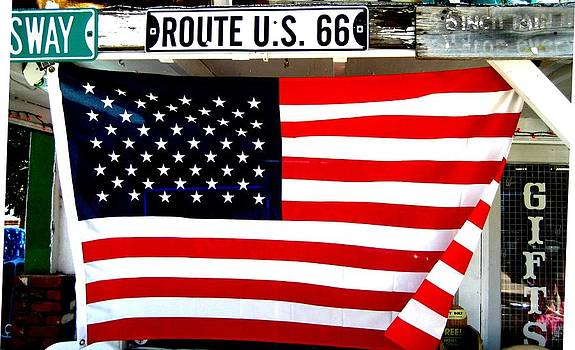 American flag Route 66 by Dany Lison