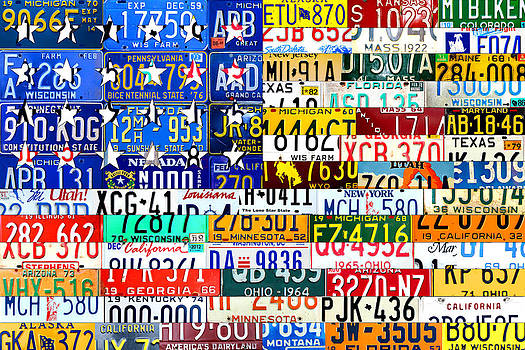 Design Turnpike - American Flag Scrap Metal Recycled License Plate Art of the 50 States