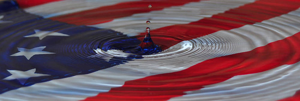 American Flag with Water by Mischelle Lorenzen