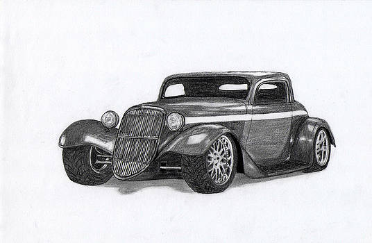 American hot rod car. by Kokas Art