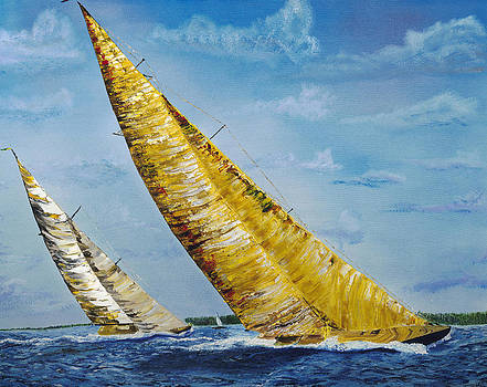 Americas Cup Sailboats by Impressionism Modern and Contemporary Art  By Gregory A Page