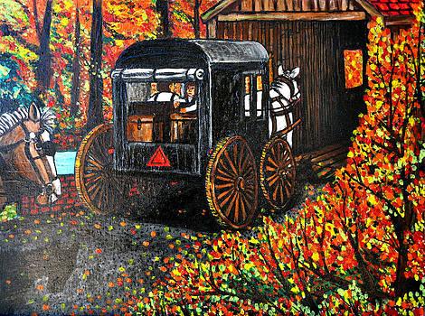 Amish at the Bridge by Bob Crawford