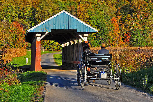 Amish heading into the bridge by Chad Wilkins