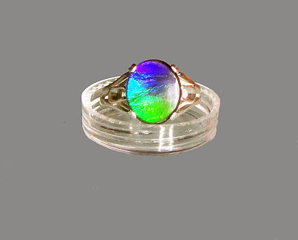 Ammolite Cabochon Sterling Silver Ring by Robin Copper