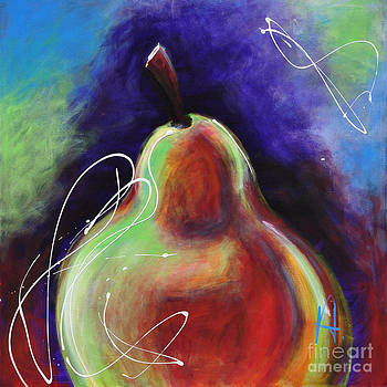 An Abstract Painting of a Pear by Johane Amirault