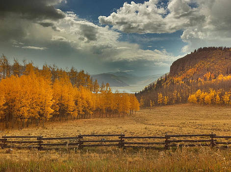 An Autumn scene of the distant headwaters of the Rio Grande in Colorado by Victoria Porter