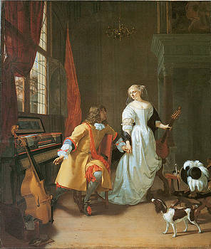 Jan Verkolje - An Elegant Couple with Musical Instruments in an Interior