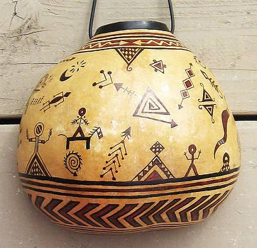 Ancestral Petroglyph Spirit Gourd - Hand Painted by Vagabond Folk Art - Virginia Vivier
