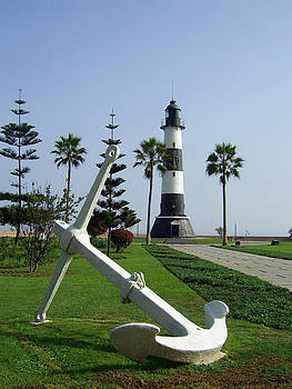 Anchor and Lighthouse on the Green Coast by Luis Fernando Del Aguila Mejia