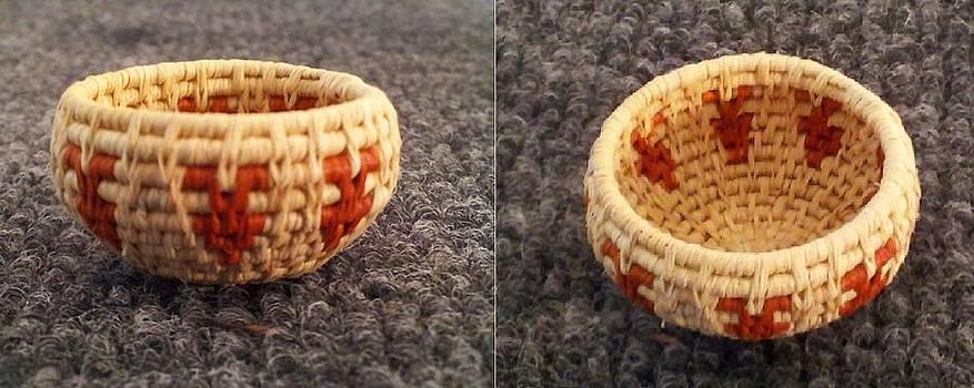 Ancient Arrowheads Mini Coil Bowl Basket #1067 by Darlene Ryer