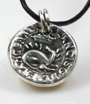 Ancient Coin Inspired Pendant  Fine Silver with Dragon Crown Francor Rex Francis GDC by Vagabond Folk Art - Virginia Vivier