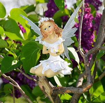 Linda Rae Cuthbertson - Angel in the Lilac Tree Woodland Fairies