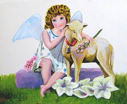 Angel with Lamb by Ruth Seal